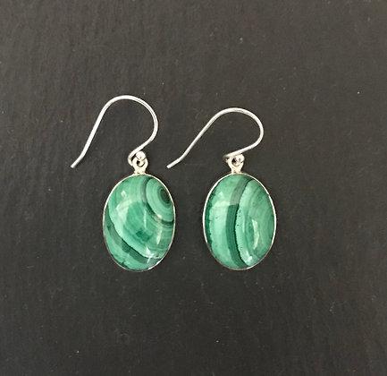 Malachite Oval Earrings