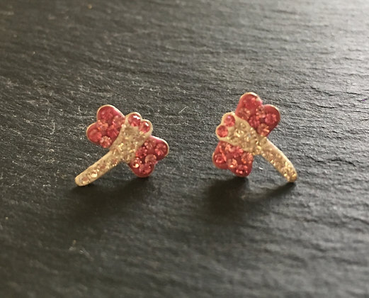 Cubic Zirconia Dragonfly Stud Earrings