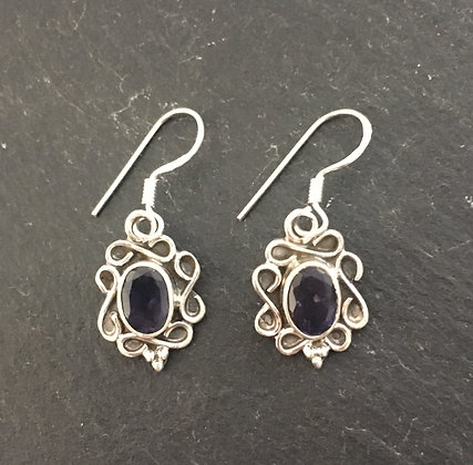 Iolite and Silver Drop Earrings