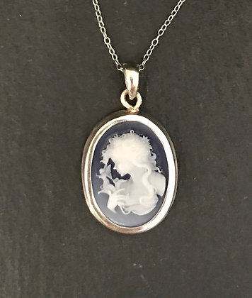 Blue Cameo Style Pendant