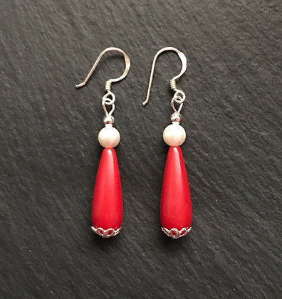 Coral and Bead Drop Earrings