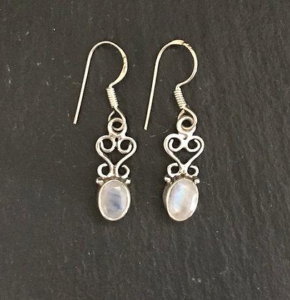 Oval Moonstone Drop Earrings