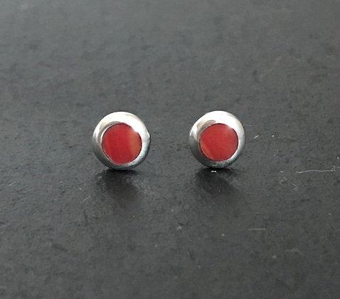 Round Coral Stud Earrings