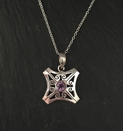 Amethyst and Silver Square Pendant