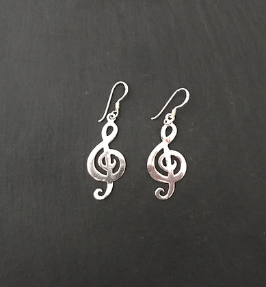 Silver Music Note Earrings