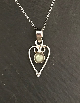 Labradorite and Silver Heart Pendant