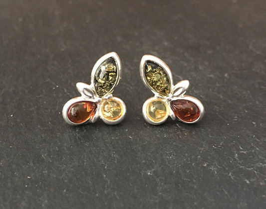 Amber and Silver Studs