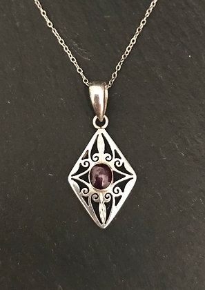 Garnet and Silver Kite Pendant