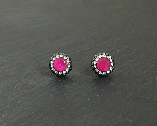 Ruby and Crystal Round Stud Earrings