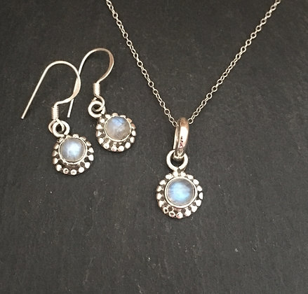 Moonstone and Silver Round Set