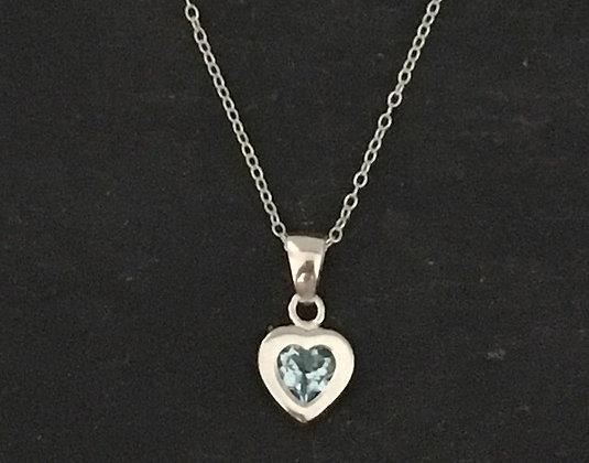 Blue Topaz Heart Pendant
