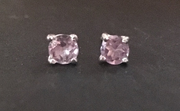 Amethyst Round Stud Earrings