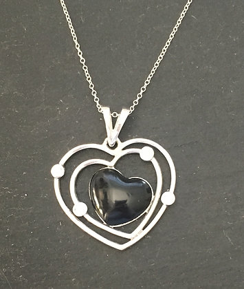 Black Onyx and Cubic Zirconia Heart Pendant