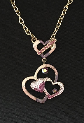 Purple Bling Heart Necklace