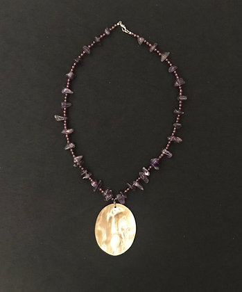 Amethyst Stone Necklace with Shell