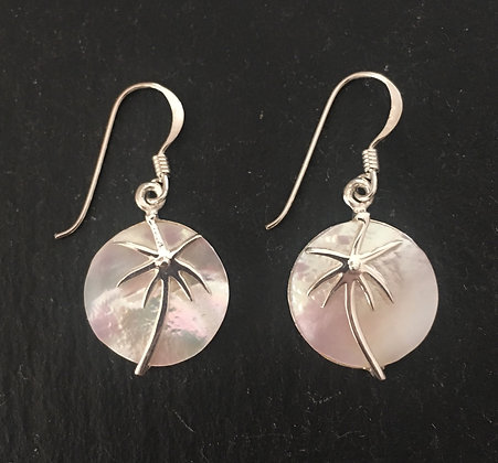 Mother of Pearl and Silver Palm Earrings