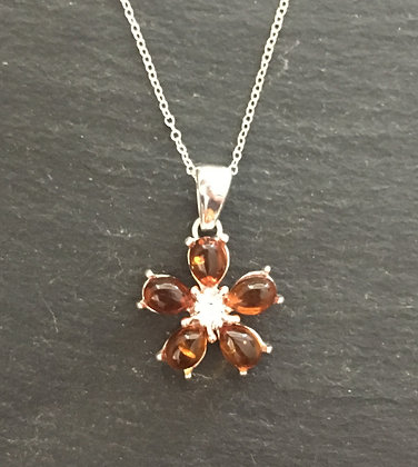 Amber and Silver Flower Pendant