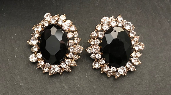 Black Oval Clip On Earrings