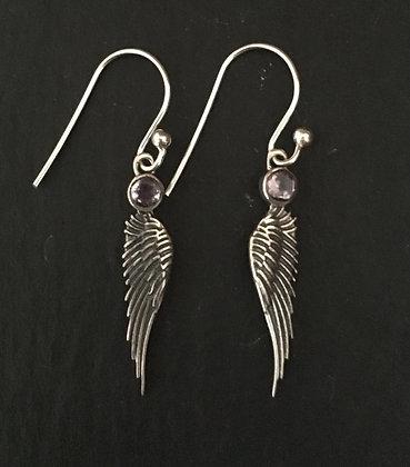Amethyst Angel Earrings