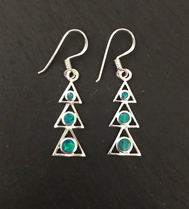 Synthetic Opal Triangle Earrings