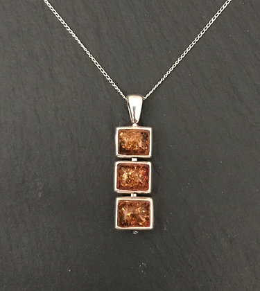 Amber and Silver Rectangle Pendant