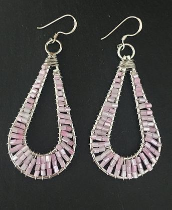 Pink Line Bead Earrings