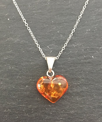 Free-Form Amber Heart Pendant
