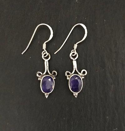 Sapphire Oval Drop Earrings