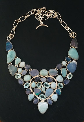 Larimar, Opal, Blue Topaz and Kyanite Necklace