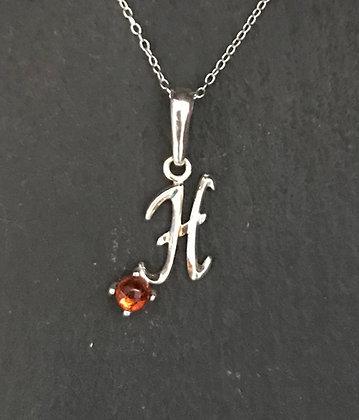 Letter H Amber Pendant