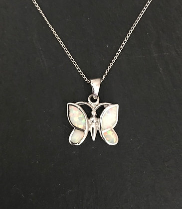 Synthetic Opal Butterfly Pendant
