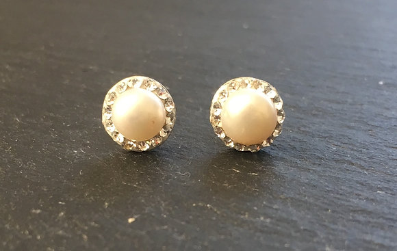 White Pearl and Cubic Zirconia Stud Earrings