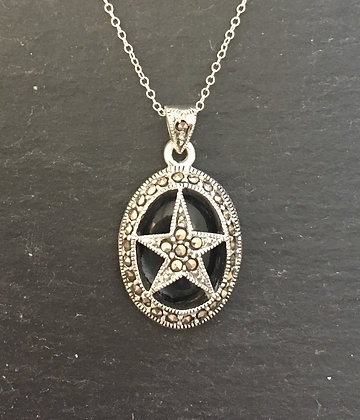 Black Onyx and Marcasite Star Pendant