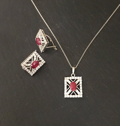 Ruby and Cubic Zirconia Set