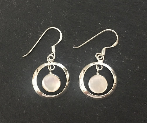 Mother of Pearl and Silver Round Earrings
