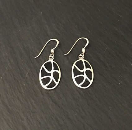 Black Onyx and Silver Earrings