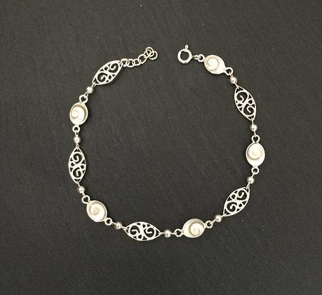 Shiva Shell and Silver Bracelet