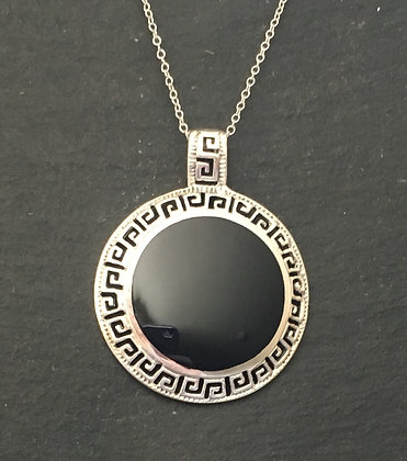 Black Onyx and Silver Round Pendant