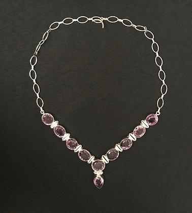 Faceted Amethyst and Silver Necklace
