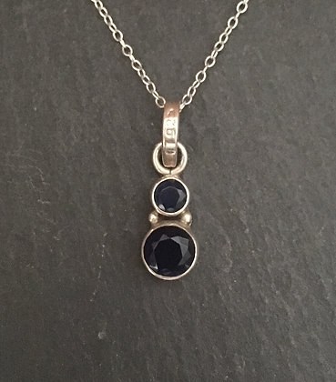 Sapphire and Silver Round Pendant