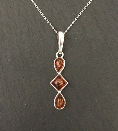 Amber and Silver Drop Pendant