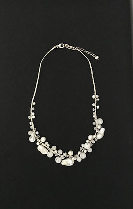 White Pearl and Bead Necklace