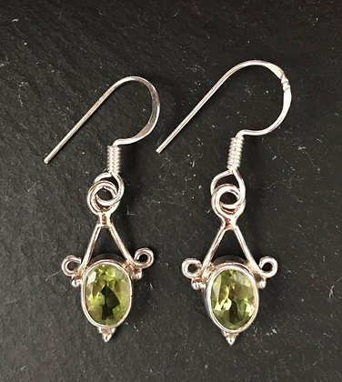 Peridot Oval Drop Earring