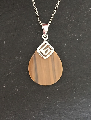 Tiger's Eye Teardrop and Silver Pendant