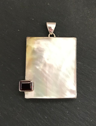 Garnet and Mother of Pearl Rectangle Pendant