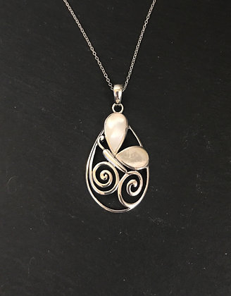 Mother of Pearl and Silver Butterfly Pendant