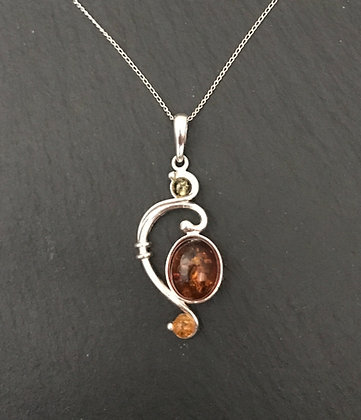 Tri-Colour Amber and Silver Pendant