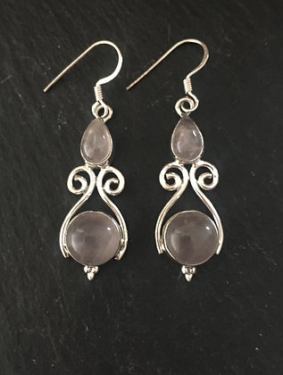 Rose Quartz and Silver Earrings