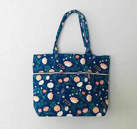 Blue Floral  Material Shoulder Bag