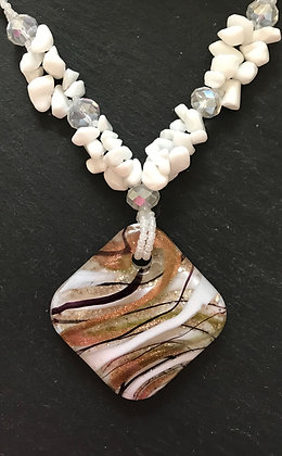 White and Gold Glass Necklace